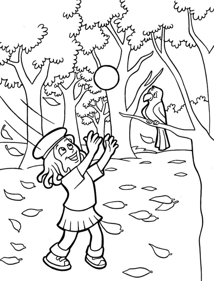 paysage nature forêt animaux arbres feuilles séchées dessin d automne page à colorier dessin à imprimer jeux enfant
