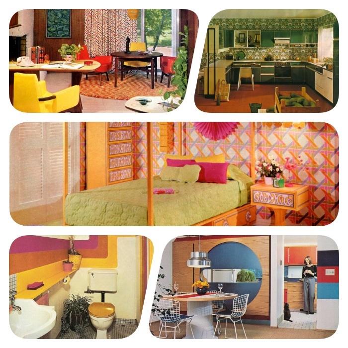 photos vintage déco année 70 réussie cuisine verte chambre lit bois avec linge vert salle à manger vintage et wc coloré style année 70