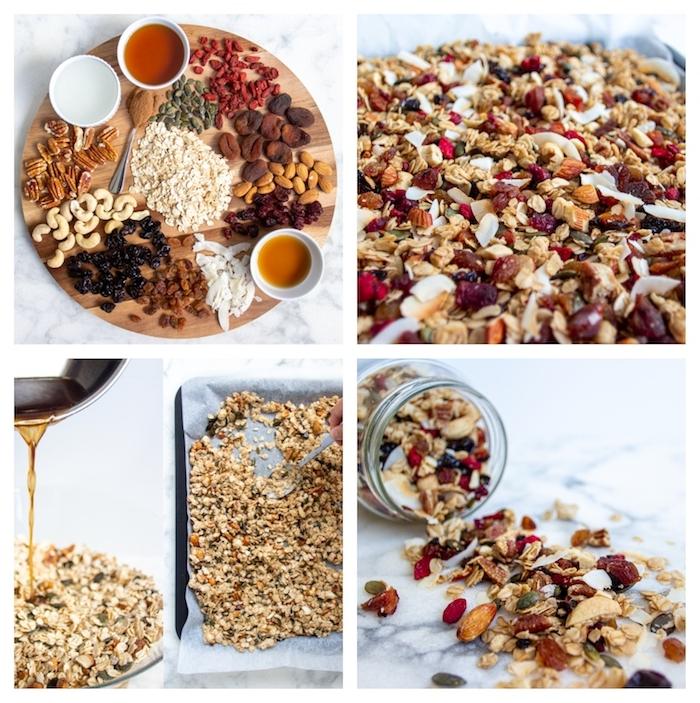 plusieurs ingredients pour faire petit dejeuner ideal variété de noix graines et fruits secs pour recette museli huile de coco et sirop d erable