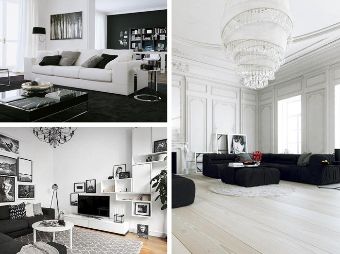 quelle couleur de sol dans un salon blanc et noir revetement de sol parquet bois blanc tapis graphique blanc et noir decoration minimaliste