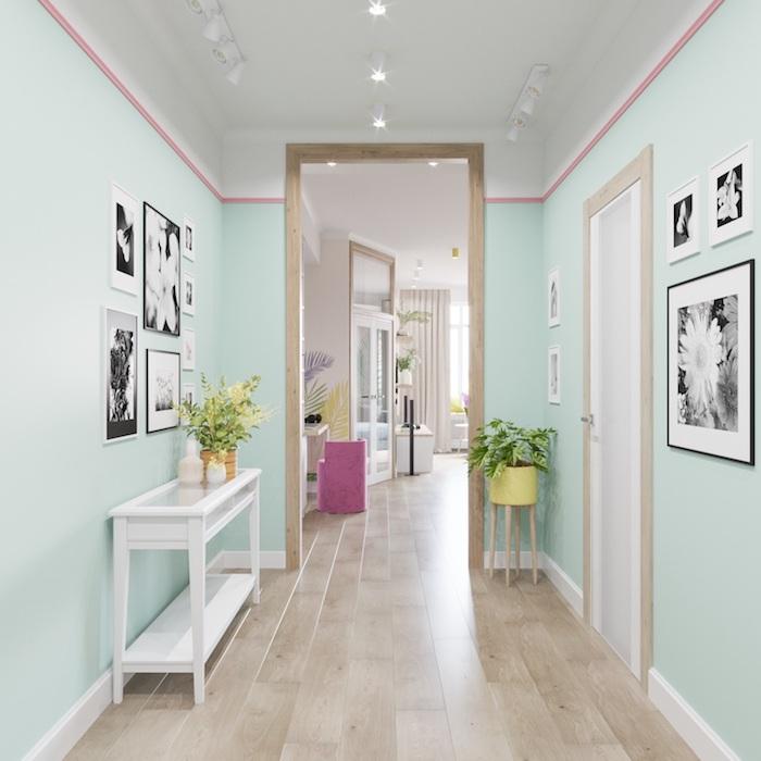 quelle couleur pour agrandir un couloir idee de peinture murale vert celadon parquet bois clair meuble coulour table d ppoint blanche dec murale cadres noir et blanc