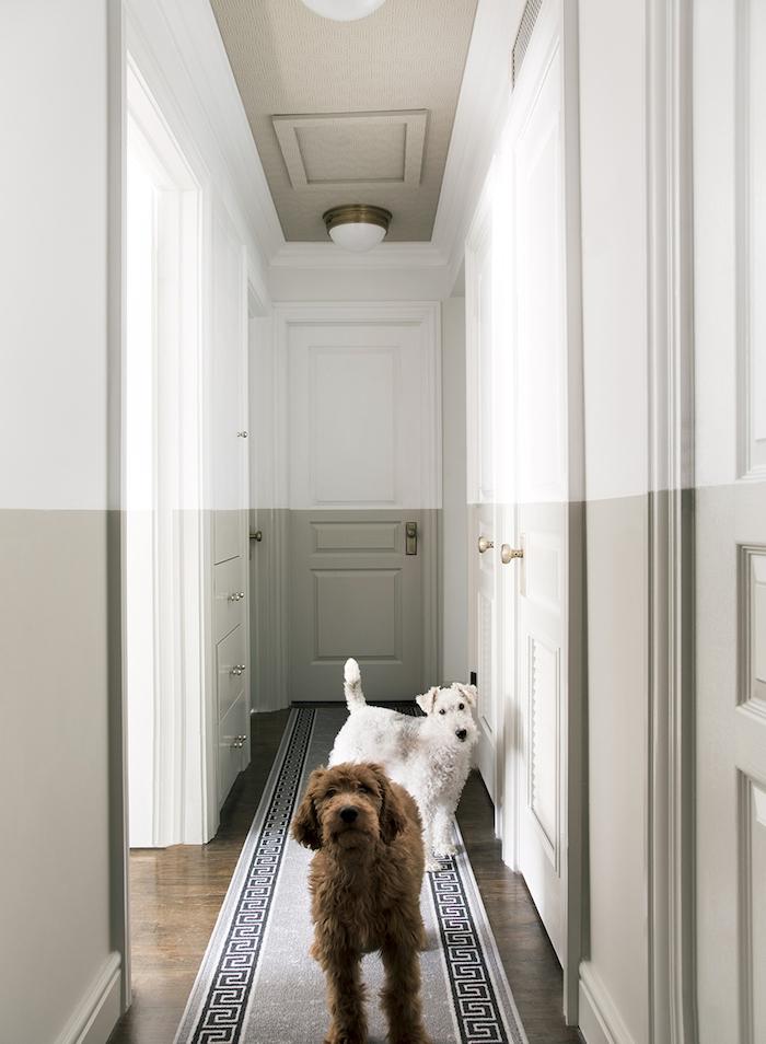 quelle couleur pourun couloir sans fenetre idée de peinture hall couleut gris perle et blanc amenagement appartement moderne