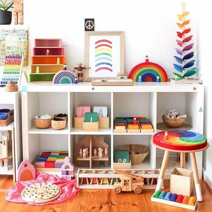 rangement chambre fille meuble rangement enfant coloré cool idée comment ramasser tout