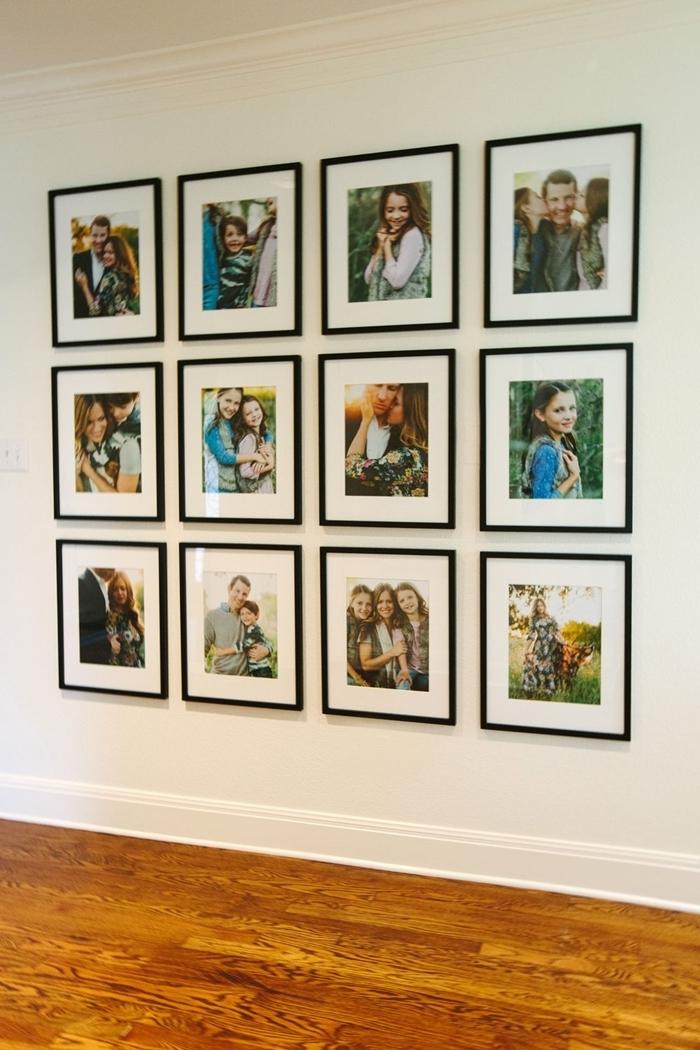 revêtement de sol parquet bois marron peinture murale blanche image pour cadre noir photos famille décoration intérieure
