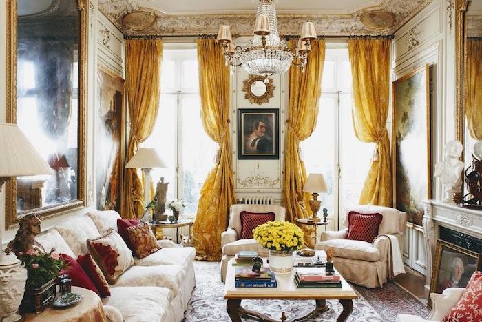 rideaux couleur jaune canapé blanc fleuri mobilier style baroque tapis coloré améangement appartement vintage chic deco salon baroque