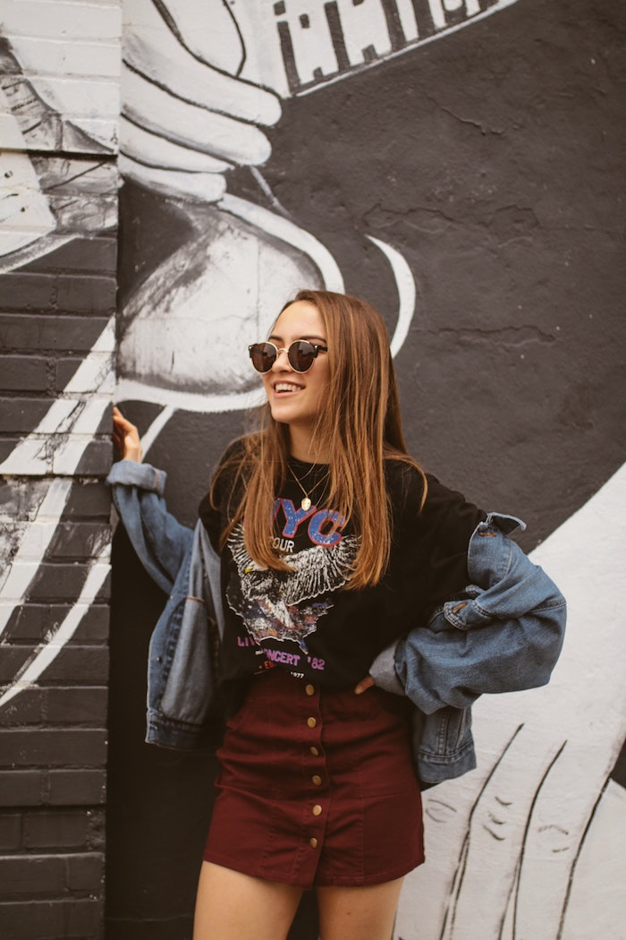robe ado fille style vestimentaire ado que porter en automne 2020 deux pieces ensemble jupe t shirt et veste en jean