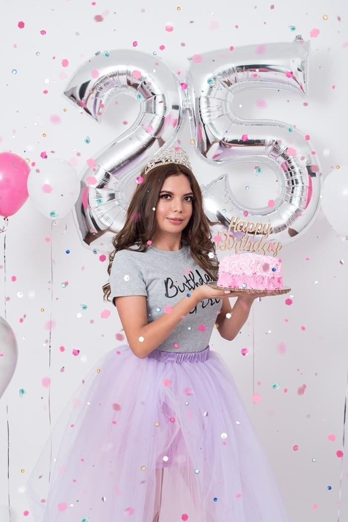 robe pour anniversaire jupe tutu violet lavande couleurs pastel vêtements célébration fête t shirt gris avec lettres joyeux anniversaire