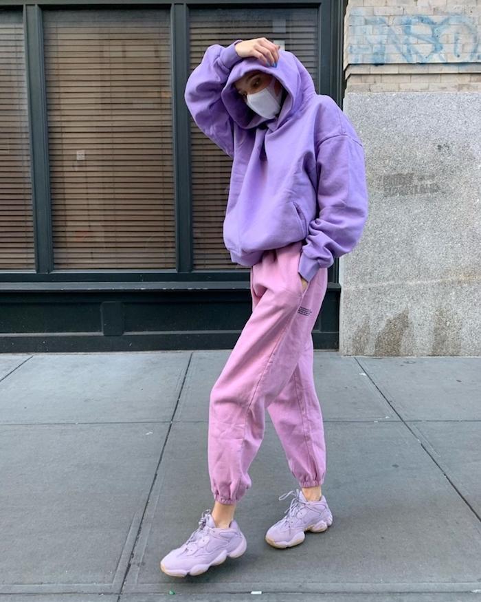 rose pantalon cargo et blouson violet mode ado fille 2020 robe soiree ado vetement ado fille stylé sport tenue