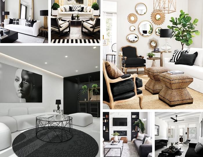 tableau noir et blanc canapé blanc déco salon moderne tapis rond gris anthracite table salon verre métal noirci tapis jute miroir soleil fauteuil noir et bois