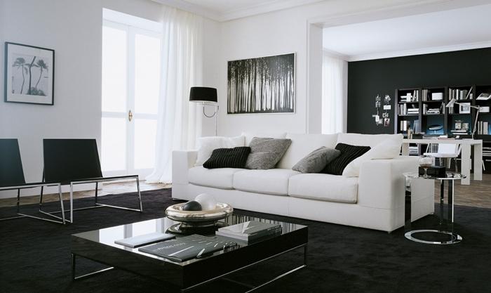 tapis gros noir table basse verre salon peinture cadre noir et blanc deco salon noir et blanc canapé blanc coussins décoratifs