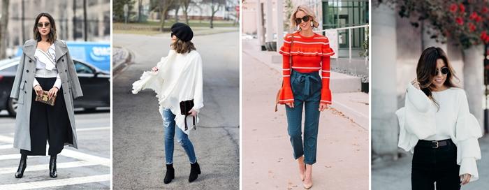 tendance mode 2020 pull volants gris manches pantalon noir slim fit manteau long gris boutons noirs blouse rouge accessoires tendance