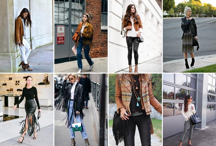 tendance mode automne 2020 vetements femme style boho chic sac a main noir franges veste velours marron jupe cuir franges
