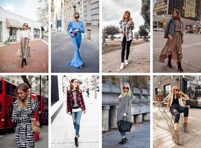 tendances automne hiver 2020 2021 imprimés motif pied de poule veste carreaux rouge et noir jeans femme bottines talons cuir noir robe longue bleue polka dots