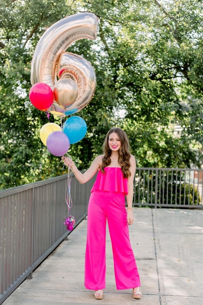 tenue de soirée femme pantalon combinaison rose fuschia vêtements party cocktail célébration fête anniversaire mode