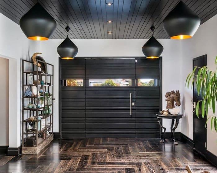 transformation espace décoration plafond salon inspiration plafond noir étoilé garage en salon