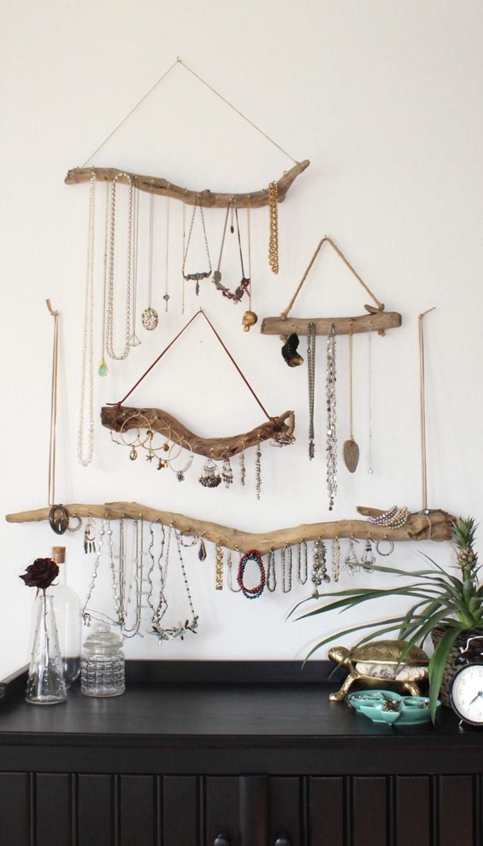 accroche bijoux mural diy suspension murale bois flotte corde activite manuelle facile decoration chambre boheme