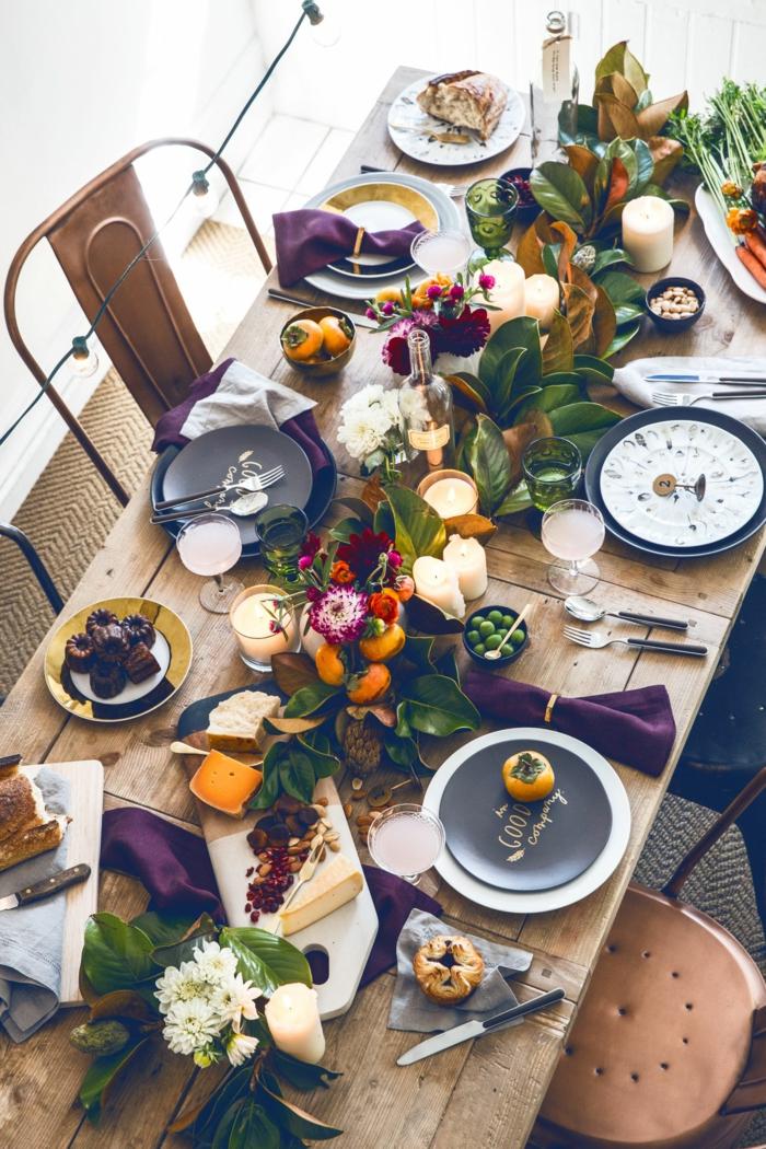 activité manuelle automne deco d automne thème automne nappes violets table longue bois