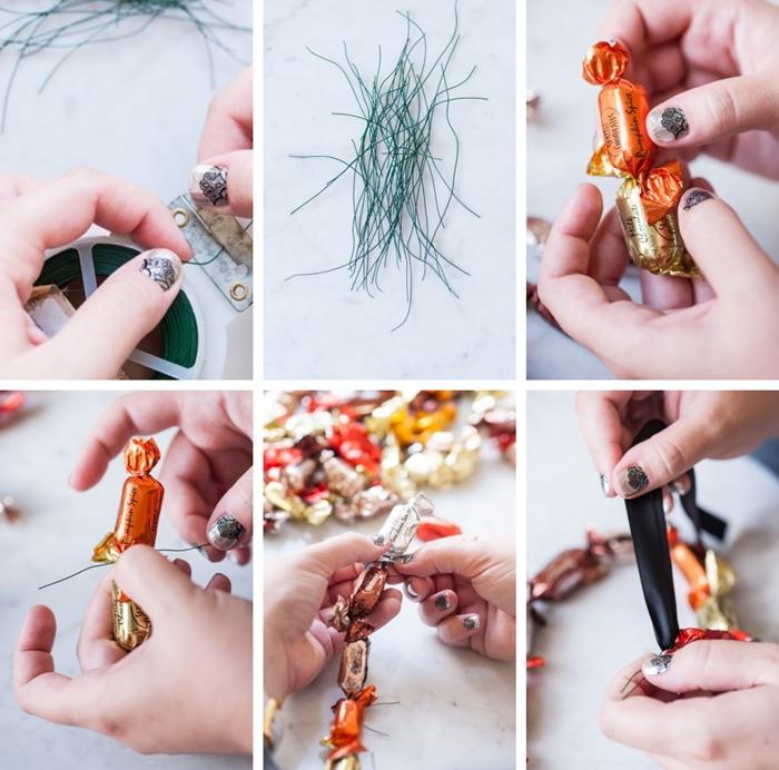activite manuelle automne fabrication guirlande halloween friandises bonbons fil fer bricolage facile