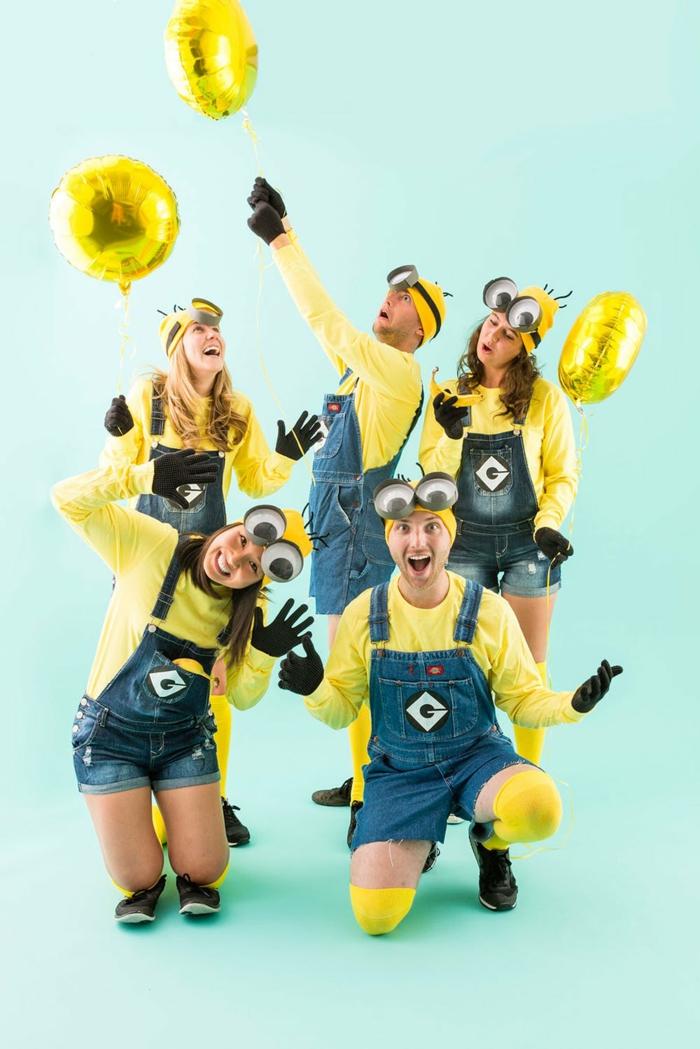 adorable idée de costumes pour les groupes d amis minion deguisement de groupe original déguisement halloween fait maison tee shirt jaune et salopette