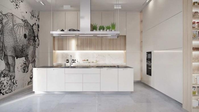 aménagement cuisine en l avec îlot central rangement mural ouvert marbre noir et blanc meubles haut bois crédence marbre