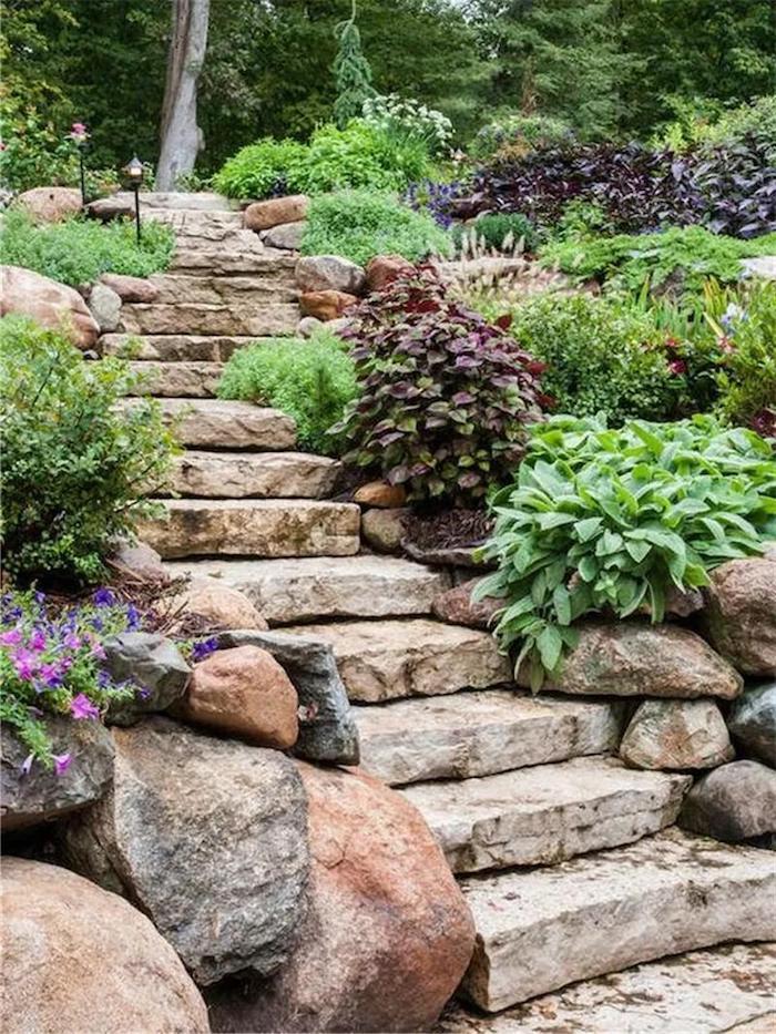aménagement cour extérieur construction des escaliers naturels par pierres qui vont dans la foret