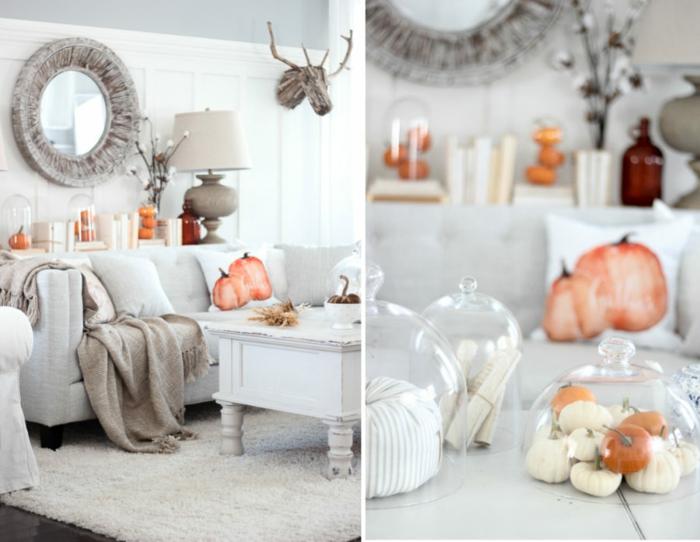 automne décoration de salon coussins avec citrouilles peintes table basse blanche tapis shaggy miroir ronde