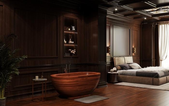 baignoire dans chambre revêtement mural panneaux bois foncé aménagement salle de bain baignoire japonaise bois autoportante