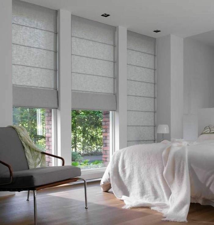 belle chambre avec store gris comment rendre sa chambre plus belle idée déco lumière naturelle grands fenetres