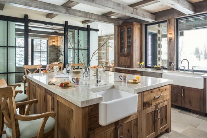 belle photo cuisine maison de campagne inspiration cuisine rustique moderne en marbre et bois