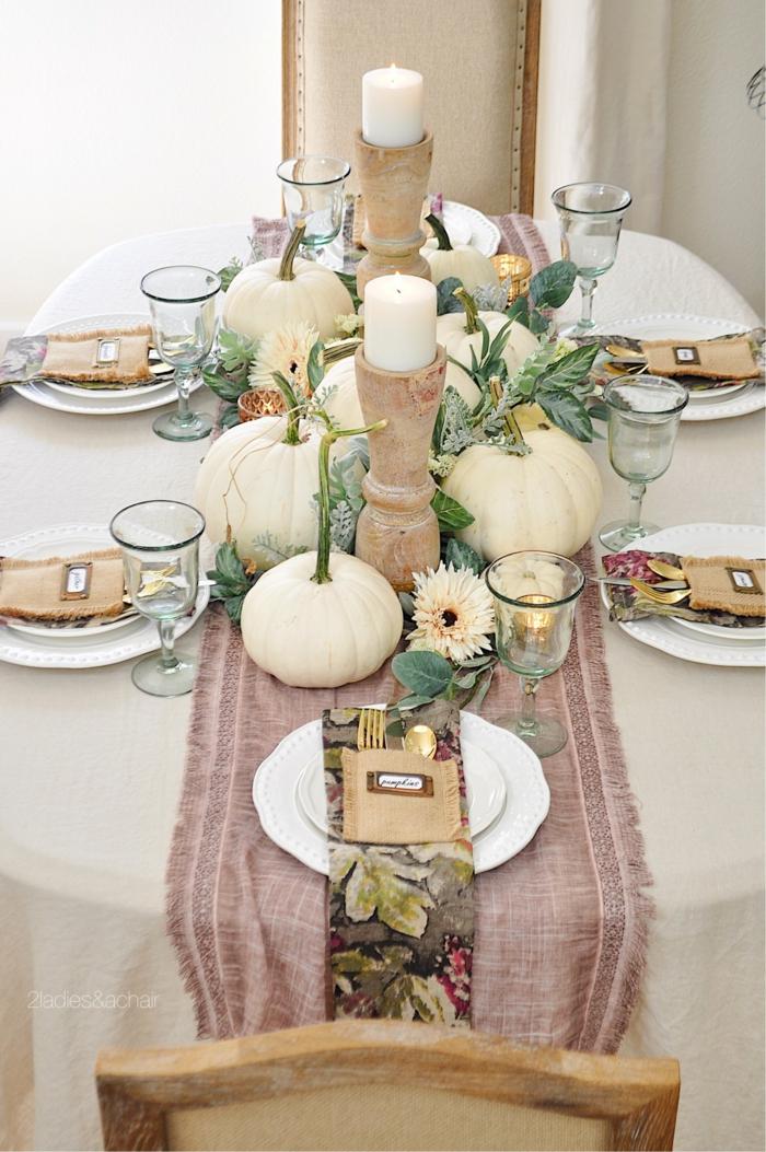 blanche deco table d automne idee deco de table d automne a faire soi meme bougies chemin de table