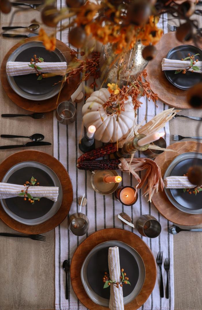 boheme decoration avec citrouilles et assiettes rustiques deco a faire soi meme recup deco table d automne recup