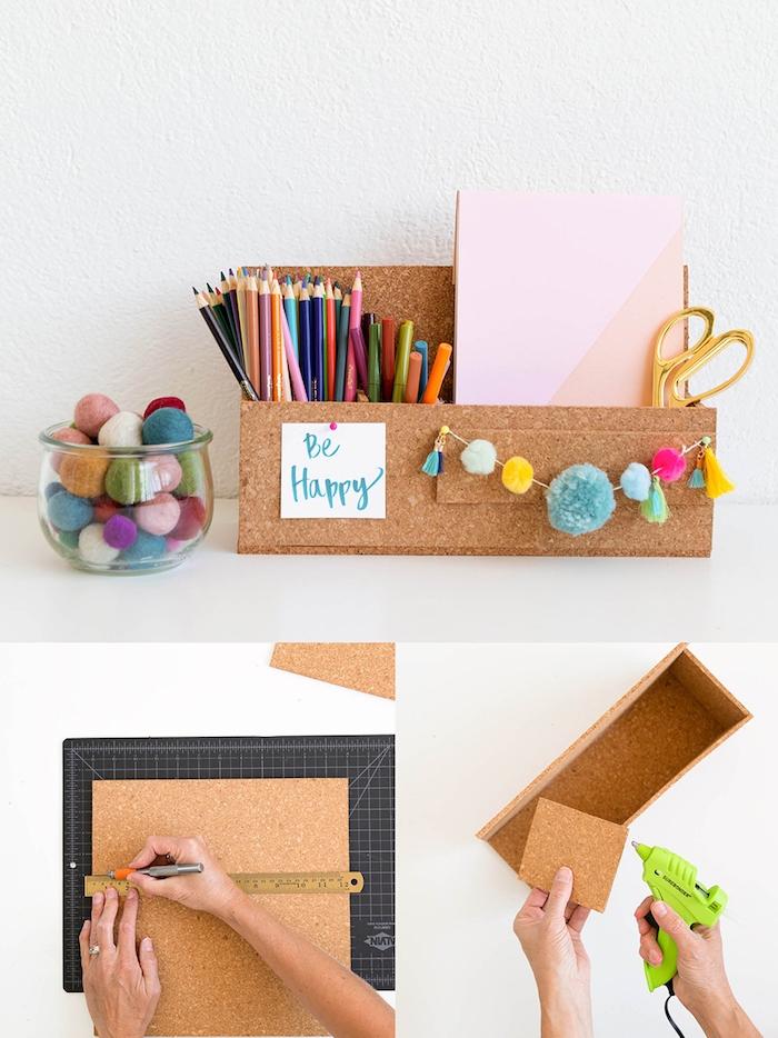 boite rangement pot à crayon en paques de liège découpées et décorées de pompons à frange activité manuelle ado rentrée scolaire