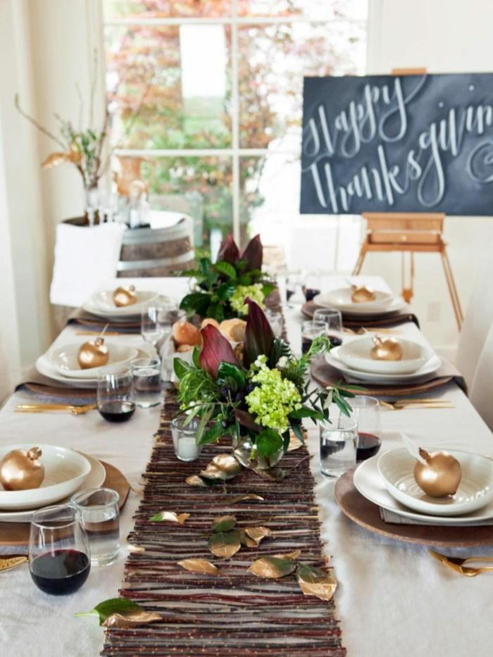 branches pour chemin de table feuilles dorés deco recup mariage automne deco automne a faire soi meme