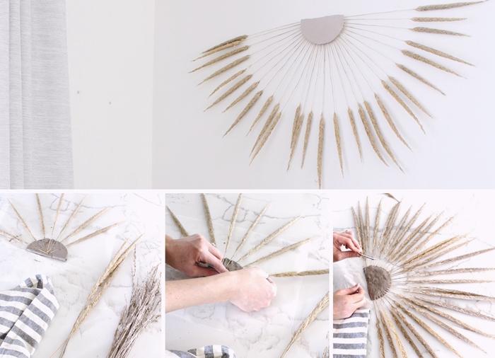 bricolage facile diy deco murale petit budget branches sechees fleurs style boheme salon blanc accessoires fibre naturelle