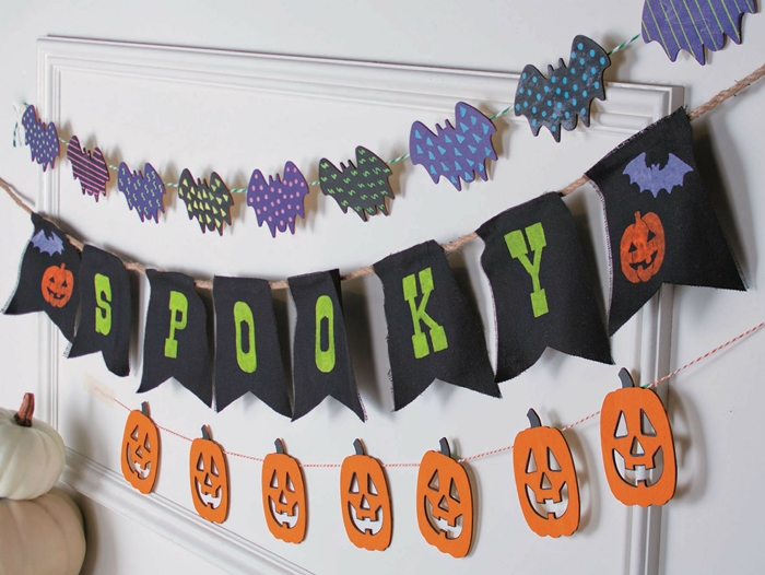 bricolage halloween facile citrouille lanterne gabarit fil guirlande lettre drapeau noir chauve souris papier scrapbooking