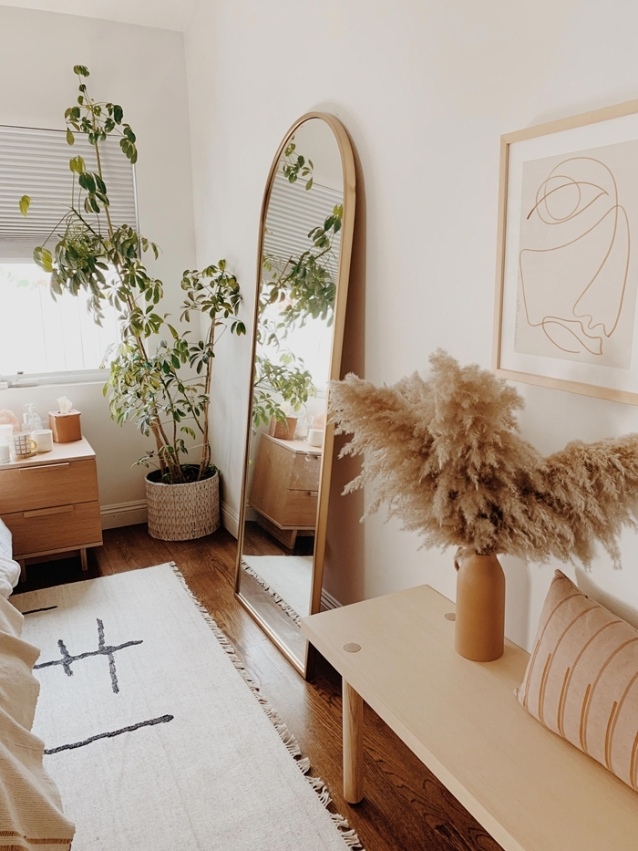 cache pot fibre naturelle meuble de chevet bois clair miroir bois vase pampa banquette bois vase cadre photo bois