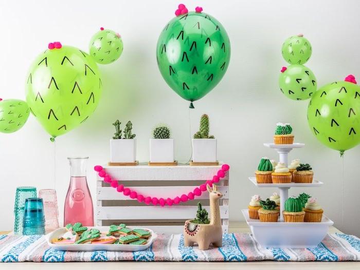 cactus ballon pots de fleurs avec des cactus et decoration cupcake et biscuit à motif cactus