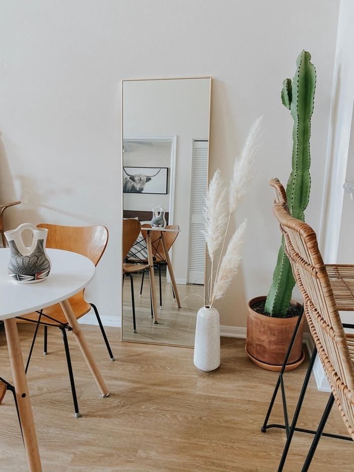 cactus intérieur pot fleur terre cuite table blanc et bois chaise bois miroir deco salon boheme moderne vase blanc