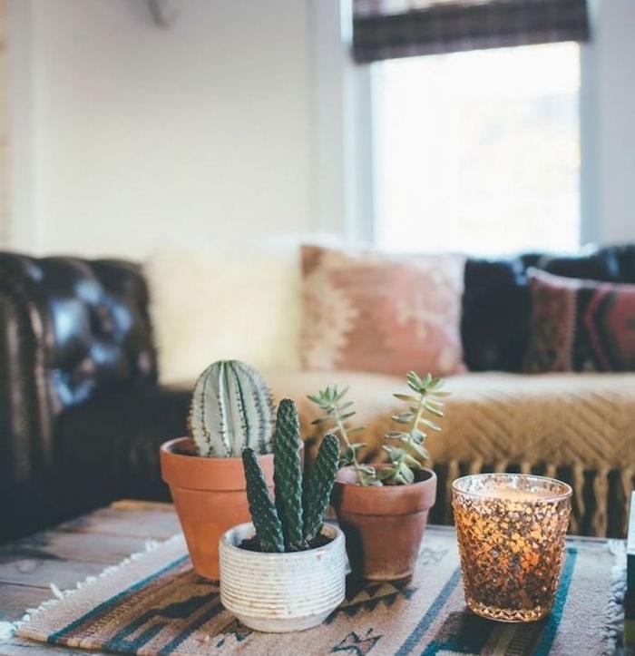centre de table salon petits cactus en pots de fleurs sur couverture table dépaysante cactus decor simple et elegant salon boheme