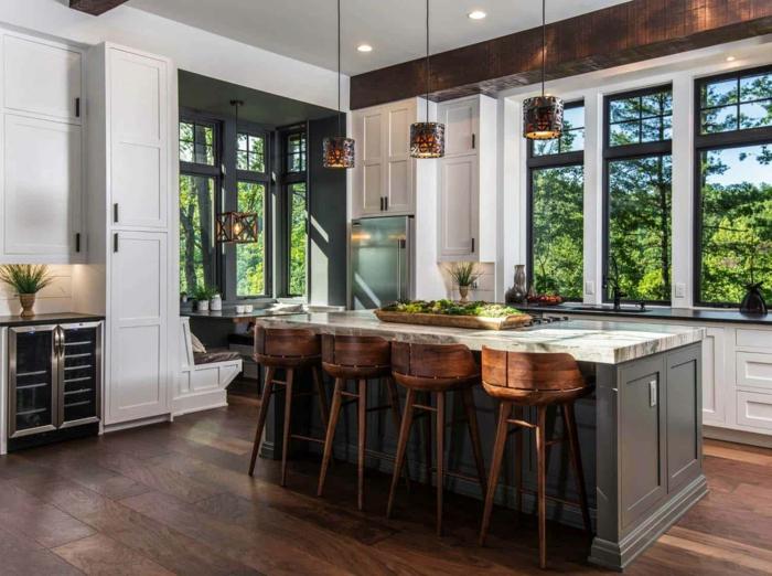 chaises hautes bois meuble cuisine bois inspiration intérieur cuisine champêtre fenetre grande lumiere du jour