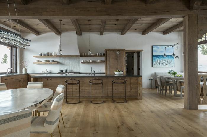 chalet beau interieur plafond bois cuisine bois naturel cuisine campagne chic dans un appartement