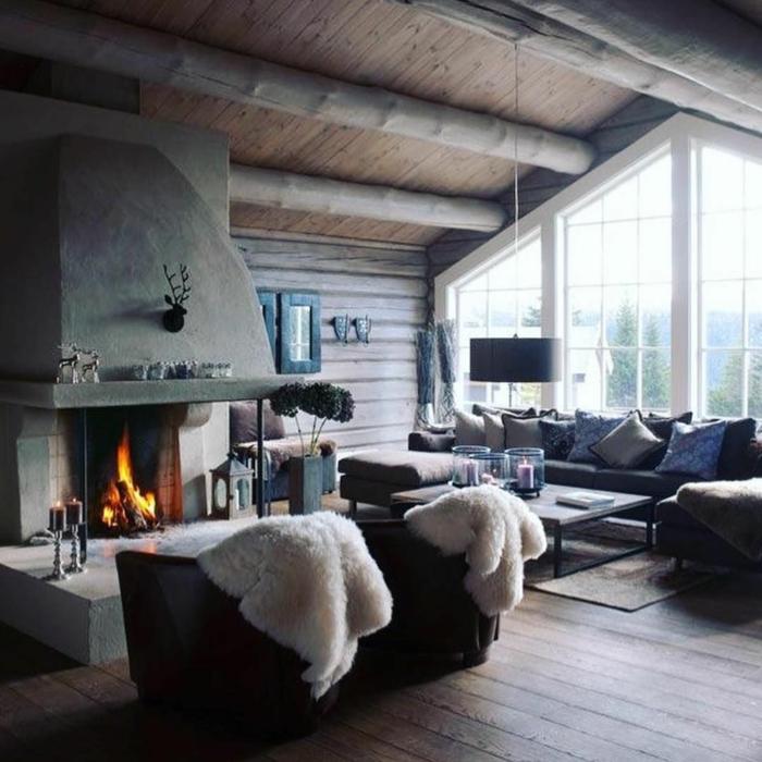 chalet bien aménagé peinture pour salon dans une maison a la montagne cheminee rustique déco salon cocooning