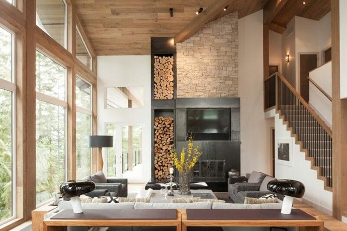 chalet bois grand cheminee dans le mur meuble cuisine bois inspiration intérieur cuisine champêtre