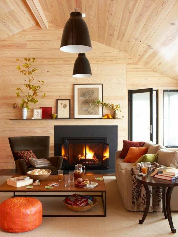 chalet confortable tout en bois interieur cheminee appartement cocooning idee deco salon