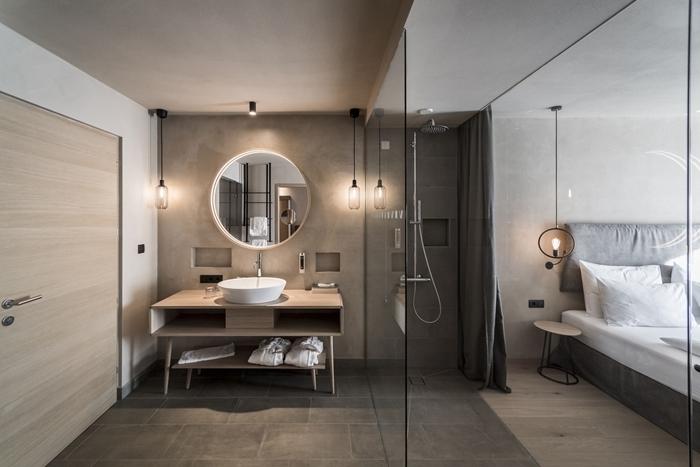 chambre parentale avec salle de bain design intérieur style moderne décoration chambre grise peinture à effet béton