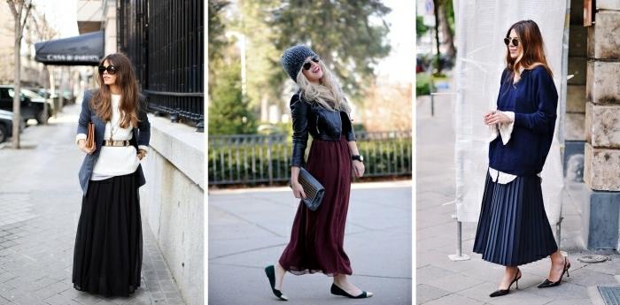 chaussures à talons noires pull oversize bleu marine chemise longue blanche jupe longue hiver couleur lit de vin veste cuir noir resized