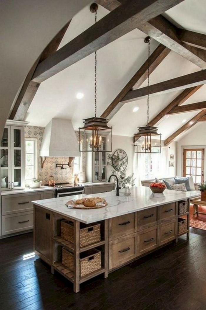 chouette idée comment décorer la cuisine cuisine ilot bois massive chene cuisine champêtre dans la grande ville