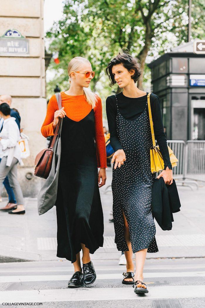 chouette idée tenue street style vestimentaire année 90 habit année 90 mode feminine amies robes mi longues et blouse manche longue pour dessous resized