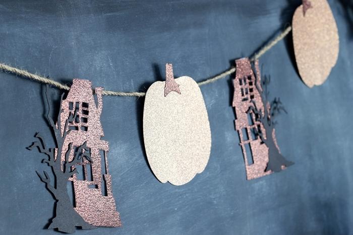 citrouille en papier cartonné argenté figurine maison hantée en papier rose gold brillant décoration halloween en papier