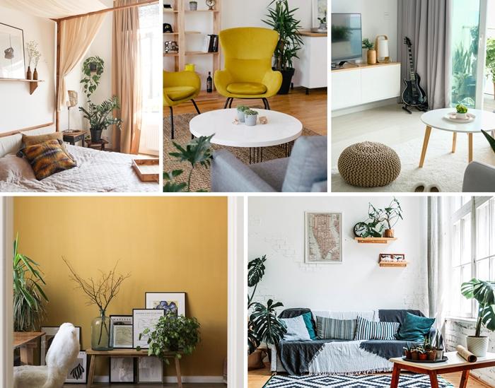 comment décorer son intérieur automne hiver peinture murale tendance fauteuil jaune moutarde pouf crochet coussin bleu étagère bois
